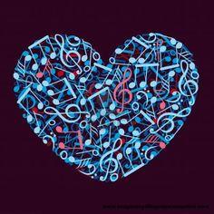 notas musicales con forma de corazon