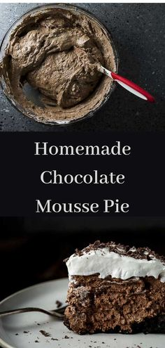 This no bake Chocolate Mousse Pie is made with creamy melted chocolate mixed with whipped cream and fluffy egg whites all on top of a homemade Oreo crust. Easy Chocolate Pie, Chocolate Mousse Pie, Chocolate Desserts, Melted Chocolate, Chocolate Chiffon Pie Recipe, Mousse Cake, Healthy Chocolate, Chocolate Cake, Easy Desserts