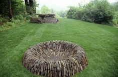 (July 2013 - *Pinner's Note* I just love dry-laid stone work.)  Fire Ring by Dan Snow of Dan Snow Stoneworks