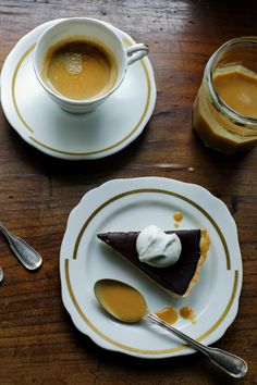 La tarte au chocolat with mascapone vanilla bean cream and salted butter caramel sauce.  Let's go all the way!