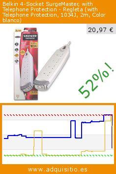 Belkin 4-Socket SurgeMaster, with Telephone Protection - Regleta (with Telephone Protection, 1034J, 2m, Color blanco) (Electrónica). Baja 52%! Precio actual 20,97 €, el precio anterior fue de 43,49 €. http://www.adquisitio.es/belkin/4way-srge-with-tel-prot
