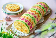 Pääsiäisrulla  Taio kuviorulla-tekniikalla pääsiäisen komein kääretorttu! Pääsiäismunien maalaamisesta innoituksen saanut kuvio on pursotettu pellille ja annettu jähmettyä jääkaapissa. Sen päälle on kaadettu varsinainen rullataikina, joka poikkeaa hieman perinteisestä kääretorttureseptistä sisältäen mm. voita. Rulla on täytetty appelsiinirahkalla ja persikanpaloilla. Easter Recipes, Easter Food, Special Occasion, Bakery, Swiss Rolls, Cooking, Ethnic Recipes, Desserts, Foods