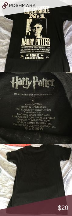 Harry Potter undesirable number 1 black t-shirt Used, looks practically new! Size medium, design still enchanting! A grab for Harry Potter fans! Tops Tees - Short Sleeve