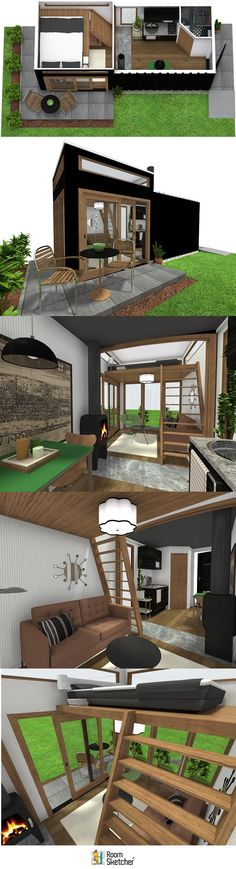 Create floor plans, home and office designs online with RoomSketcher Home Designer. Get started, risk-free. Can Design, Design Your Own, Create Floor Plan, Sims 4 House Design, Shipping Container Homes, Tiny Living, Design Trends, Tiny House, Shed