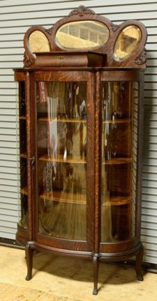 Old Antique Victorian China Cabinet | Antique Victorian Tiger Oak China  Cabinet Curved Glass Showcase 1800s