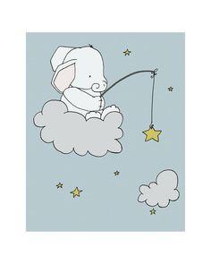 Elephant Star Fishing Elephant Nursery Art by SweetMelodyDesigns, $15.00 Elephant Nursery Art, Star Nursery, Nursery Wall Art, Nursery Decor, Art Wall Kids, Art For Kids, Art Children, Fishing Nursery, Art Mignon