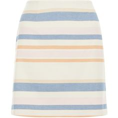 New Look White Stripe A-Line Skirt ($18) ❤ liked on Polyvore featuring skirts, bottoms, white pattern, patterned mini skirt, striped mini skirt, knee length a line skirt, white skirt and striped a line skirt
