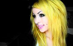 Yellow hair | Angelica Muderotic alternative yellow hair, septum piercing and cheek ...