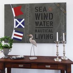 Classic New England decor with painted signal flags. New England Decor, Candle Lanterns, Flags, Nautical, Inspiration, Pillows, Classic, Artwork, Painting