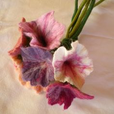wet felted flowers | felted flower bouquet -unique moments 1- | QaraQul's shop
