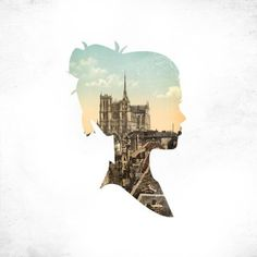 make a silhouette out if white paper, place on top of a picture (of person, place, map)