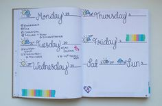 Another weekly. [[MORE]]A simple yet colourful layout. Everything is written in fineliner (black, 0.5). To bring in some colour, I painted in the weather symbols and added rainbow washi tape.