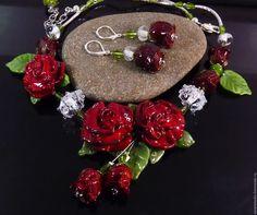 """Купить Колье и серьги """"Магия цвета"""" стекло лэмпворк - комбинированный, колье, ожерелье, колье и серьги"""