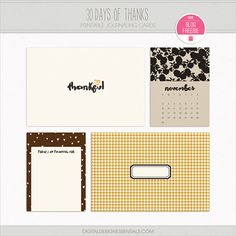 Quality DigiScrap Freebies: 30 Days of Thanks journal cards freebie from Digital Design Essentials