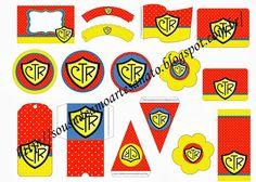 Kit para Festas com Tema CTR - Poá Vermelho, Amarelo e Azul
