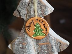 Merry Christmas decoration - Copper Christmas tree decorations with an embossed Christmas tree and a calligraphy writing Merry Christmas, Joyeux