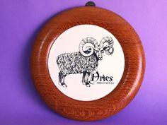 Vintage Wooden Zodiac Aries Cheese Board Ram Ceramic by FunkyKoala