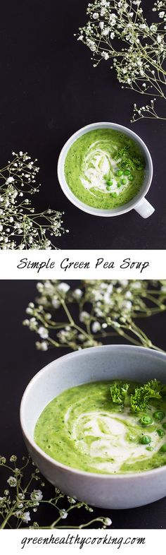 This Simple Green Pea Soup recipe is not only extremely simple but also gorgeous looking and the perfect soup for cooking beginners.