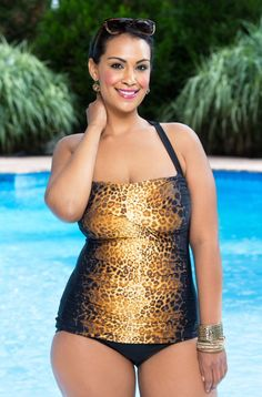 This Hello Kitten Shirred Sheath Swimsuit by It Figures doesn't Meow, it ROARS!  The front leopard print will have you stalking the perfect sunny spot on the beach.  This feline swimsuit features a s