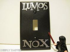 Lumos Nox Silver and Black Standard Light Switch by DeeplyDapper, $7.00  Fine Geek Gifts and home decor on our shop's Etsy page - www.etsy.com/shop/deeplydapper   Also find us on www.deeplydapper.com and www.etsy.com/shop/dappersoaps