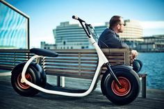 "The Scrooser Electric Scooter is based on the classic scooter design, a modern lifestyle city scooter with a ""pulse operation mode"" electric motor which shows the power the foot pushes off with.    Scrooser while riding in Eco mode, one"