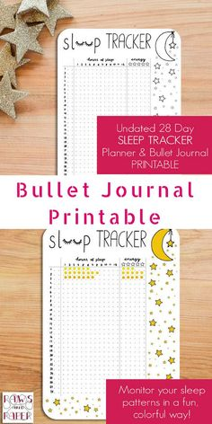 This sleep tracker allows you to monitor your sleep patterns and rate your level of energy the next day. Sleep tracker bullet journal printable. #ad