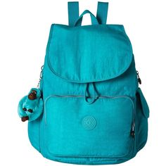 Kipling Ravier Backpack (Cool Turquoise) Backpack Bags ($71) ❤ liked on Polyvore featuring bags, backpacks, blue, blue bag, strap bag, turquoise backpack, monkey backpack and backpack strap pouch