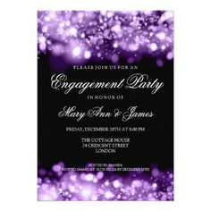 Discount Deals Wedding Engagement Party Sparkling Lights Purple 5x7 Paper Invitation Card you will get best price offer lowest prices or diccount coupone