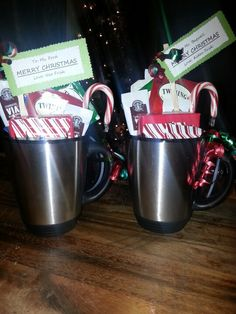 My easy Christmas gift for Teachers Desk mug filled with: Instant coffee packets Tea packets Hot cocoa packet Apple cider packets Assortment of christmas chocolates & candy-cane (Optional) $5 coffee gift-card