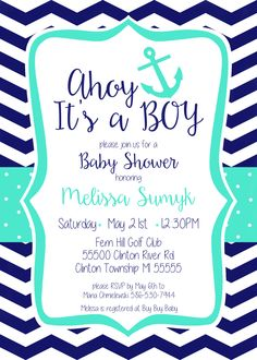 Free Printable Baby Shower Invitation Ahoy Its a Boy Greetings