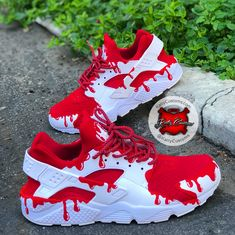 """Custom """"Red Gushers"""" Nike Huarache - Katty Customs,Sneakers for Women - Comfortable Once they were element of sports fashion alone, today they are a trend and have grown to be an integral part of the c. Sneakers Mode, Cute Sneakers, Sneakers Fashion, Shoes Sneakers, Women's Shoes, Shoes Style, Shoes Men, Casual Shoes, Flat Shoes"""