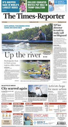 The Times-Reporter front page for  July 11, 2016. www.timesreporter.com