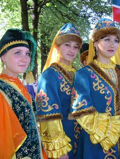 Tatar girls in traditional costumes.