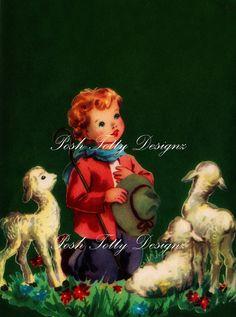 Baby Jesus Is Born Shepherd and Lamb Christmas Vintage Digital Download Printable Images (401)