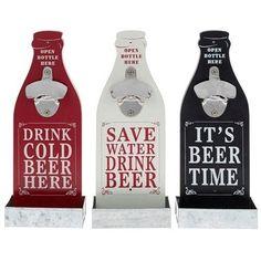 Retro  Style  Beer Bottle Shaped  Opener MDF Plaque Novelty Gift red white black