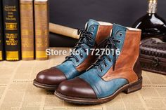 94.50$  Buy here - http://aliulk.worldwells.pw/go.php?t=32771596213 - British Fashion Men Winter Ankle Boots Top Leather Martin Botas Shoes Man Mixed Color Sapatos Masculino Flats Bottes Hombre