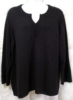 DANA BUCHMAN WOMAN PLUS 3X 26/28 BLACK V-NECK TUNIC SWEATER SOUTACHE BRAID TRIM #DANABUCHMANWOMAN #Tunic