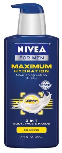 Nivea For Men Maximum Hydration 3 In 1 Moisturizer Body, Face and Hands, 13.5 Ounce by NIVEA, http://www.amazon.com/dp/B007PWRXHO/ref=cm_sw_r_pi_dp_YpiPrb0ESB7W5