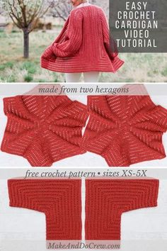 Easy Crochet Cardigan Video Tutorial - Made From 2 Hexagons! - Crochet and Knitting Patterns Sie Cardigan-Videos Easy Crochet Cardigan Video Tutorial - Made From 2 Hexagons Crochet Poncho With Sleeves, Gilet Crochet, Crochet Cardigan Pattern, Crochet Jacket, Crochet Shawl, Easy Crochet, Crochet Summer, Crochet Blouse, Free Crochet