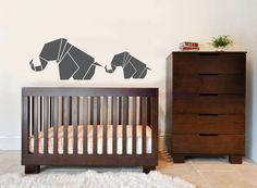 Origami Elephant & Baby Wall Decal - Children's Room Sticker - Wall Vinyl