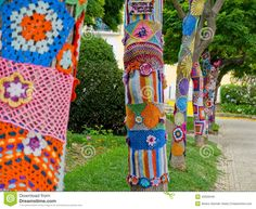 Yarn Bombing In Trees. European Park. - Download From Over 63 Million High Quality Stock Photos, Images, Vectors. Sign up for FREE today. Image: 43326349