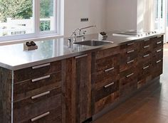Reclaimed Wood Kitchen Cabinets In Rustic Theme Stainless Steel Surface Counter