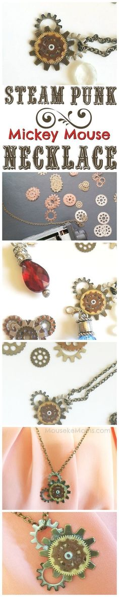 Steam Punk Mickey Mouse Necklace! LOVE This! DIY steam punk jewelry is so fun and easy and I am so excited to make this! Mickey Mouse Themed jewelry idea for Disney trip to Disneyland or Disney World or just because you are a Disney fan! And when you make