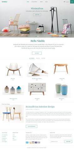 Nimble by Min Tran - flat buttons | pastels | white space | minimalism | unpretentious typefaces