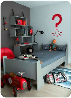 grey and red - solid color scheme
