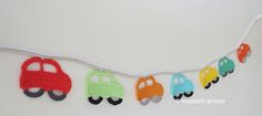Make It: Crochet Car Garland - Free Pattern #crochet #babyshower #baby