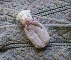 Lavender Filled Sachet Handmade Sock Doll White Cat With Blue Eyes Heart Nose #Pedricks