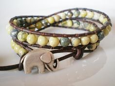 Yellow Turquoise Leather Wrap w Elephant Button by RopesofPearls