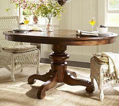 Tivoli Extending Pedestal Dining Table - Tuscan Chestnut stain #potterybarn #yourpicks  http://www.yourpicksyourplace.com/