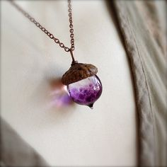 Glass Acorn Necklace in Speckled African Violet Purple by Bullseyebeads